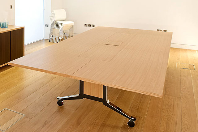 WJ White Corsair folding mobile Gullwing meeting table