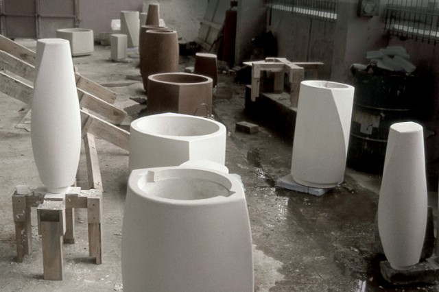 D-Form precast stone street furniture during production