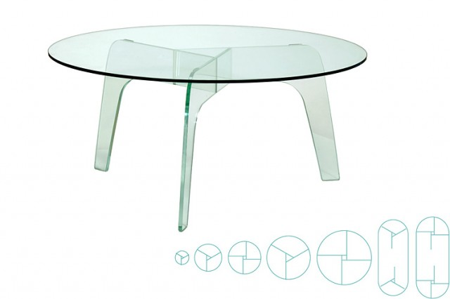 Disc all-glass tables size range