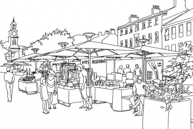 Newcastle-under-Lyme market infrastructure initial concept sketch