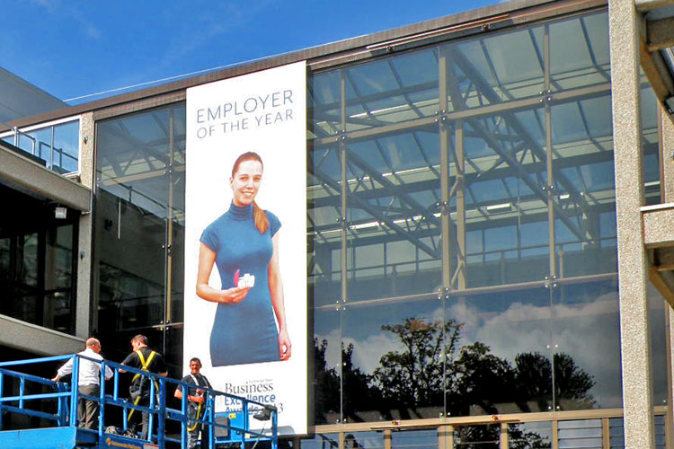 Praxis exterior banner system at Cambridge Consultants