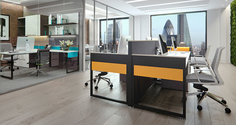 Office landscape created with the Piet desking and work walls