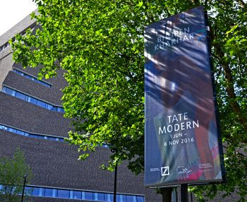 Manifest banner system outside the Tate Modern Switch House