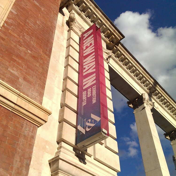 Praxis Manifest exterior banner at the V&A