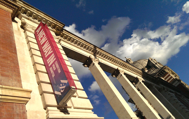 The Aston Webb screen with Praxis Manifest banners