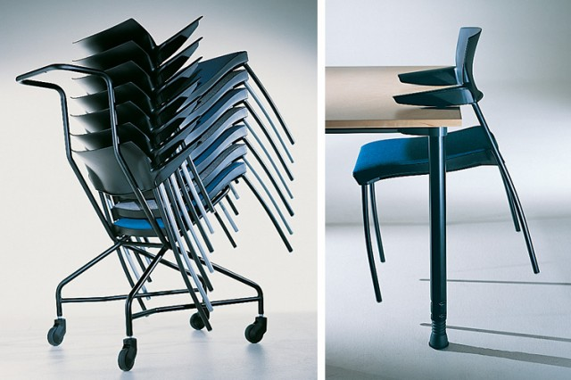 Kinnarps SquareOne chairs stacked on a trolley and perched on a table edge