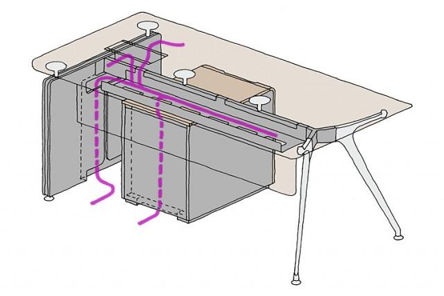 Omega desk cable management