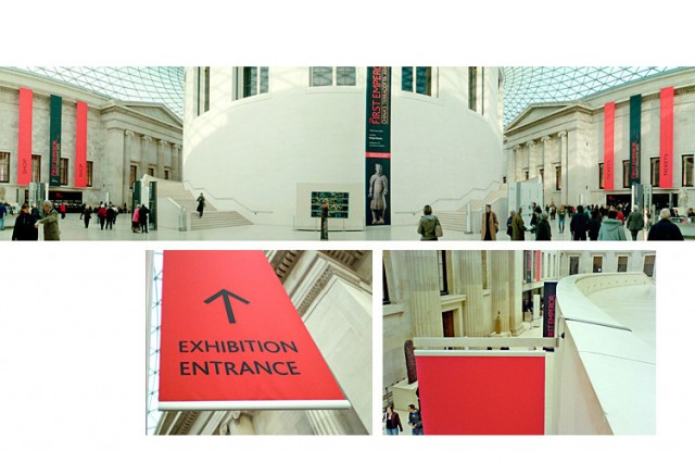 Praxis Mono banners in the British Museum Great Court