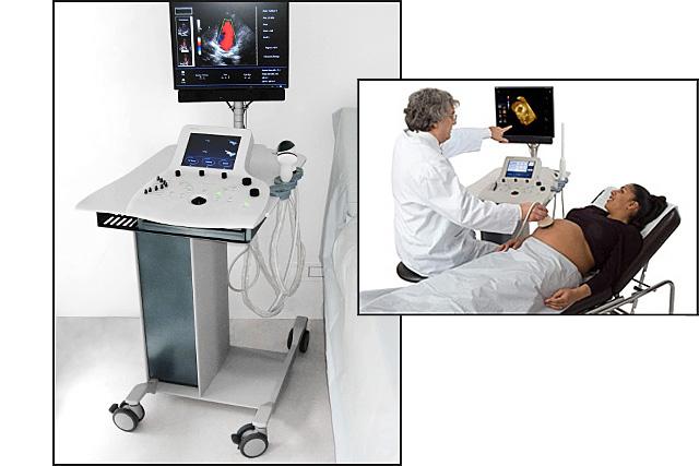 Sonoscanner Orcheo mobile ultrasound scanner in use