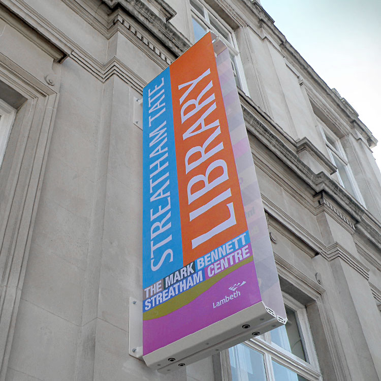 Praxis Manifest banner system at Streatham Tate Library