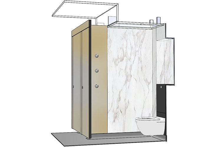Cross section through the WC cubicle