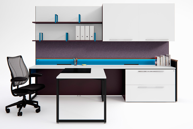 Piet executive workwall with concealed above-desk power
