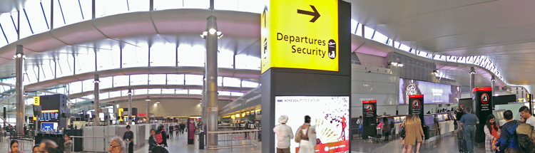 Concourse panorama at Heathrow Terminal 2