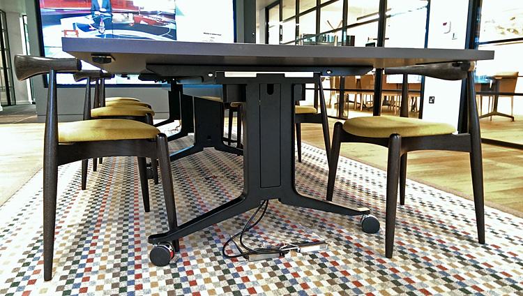 Corsair leg frames beneath the folding, mobile tables