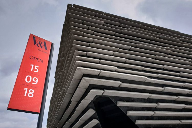 Praxis Manifest banners outside the V&A, Dundee