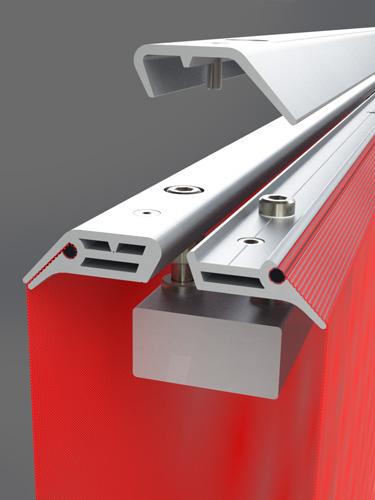 Manifest banner system fabric tensioner mechanism