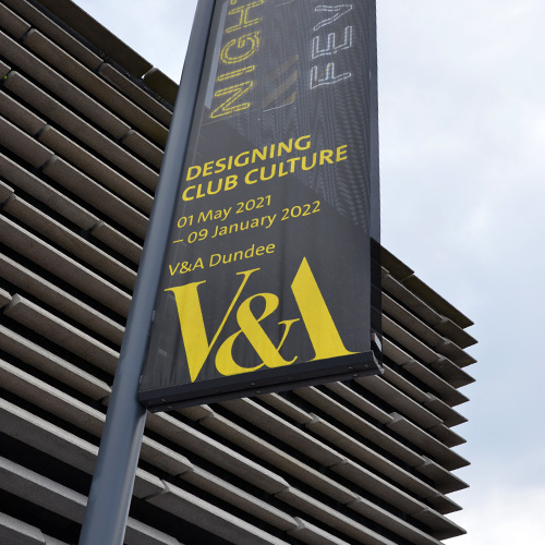 Praxis Manifest exterior banner system at the V&A Dundee